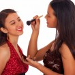 Girl Giving Her Friend A Make Over — Stock Photo