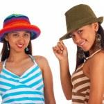 Two Teenage Girls Posing In Hats — Stock Photo