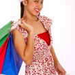 Smiling Girl Finished Her Christmas Shopping — Stock Photo #6490781