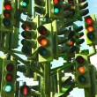 Confusing Traffic Lights At A Busy Intersection — Stock Photo #6494616