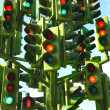 Stock Photo: Confusing Traffic Lights At Busy Intersection