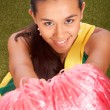 Smiling Cheerleader With Her Pom Poms — Foto Stock