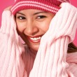 Girl Getting Warm In A Wooly Hat — Stock Photo
