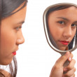 Unhappy Girl Looking At The Mirror — Stock Photo #6494996
