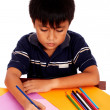 Boy With His Colored Pencils Drawing Picture — Stock Photo