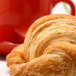 Cup Of Coffee And Croissant In The Morning — Stock Photo
