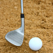 Hitting A Golf Ball Out Of A Bunker — Stock Photo