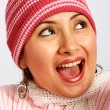 Girl Keeping Warm With A Knitted Jumper And Hat — Stock Photo