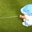 Small Child Playing Golf On A Putting Green — Stock Photo