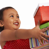 Little Girl Receiving Gifts — Stock Photo