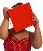 Girl Hiding Behind A Gift Box — Stock Photo