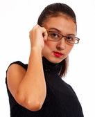 Aantrekkelijke vrouw op zoek naar ernstige — Stockfoto