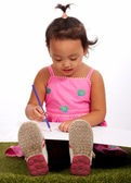 Young Girl Drawing On Sketch Paper — Stock Photo