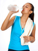 Sporty Girl Quenching Her Thirst — Stock Photo