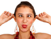 Crazy Girl Cross Eyed And Pulling Her Ears — Stock Photo