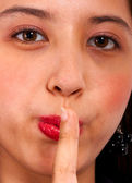 Girl Asking Us To Be Quiet — Stock Photo