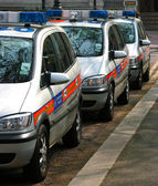Line Of Police Cars In England UK — Stock Photo