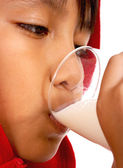 Healthy Kid Drinking Milk — Stock Photo