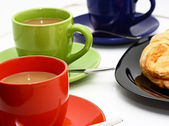 Croissant And Cups Of Coffee For Break In The Morning — Stock Photo