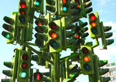 Confusing Traffic Lights At A Busy Intersection — Stock Photo