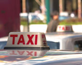 Taxis Waiting In A Taxi Rank — Stock Photo