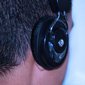 Listening To Music On The Headphone — Stock Photo