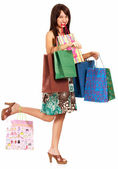 Girl Holding Lots Of Shopping — ストック写真