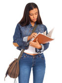 Young Student Reviewing Her Textbook — Stock Photo