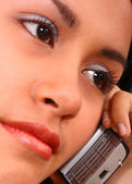 Girl Making A Phone Call Looking Worried And Concerned — Stock Photo