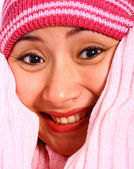 Girl Snug And Warm With A Woolen Hat — Stock Photo