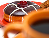 Jam And Chocolate Donut As Part Of An Unhealthy Diet — Stock Photo
