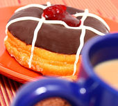 Sugary Fattening Donut With Coffee — Stock Photo