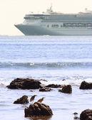 Deniz kıyısına yelkenli gemi cruise — Stok fotoğraf