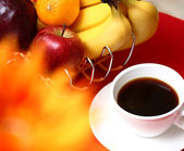 Healthy Fruit With Coffee For Breakfast — Stock Photo