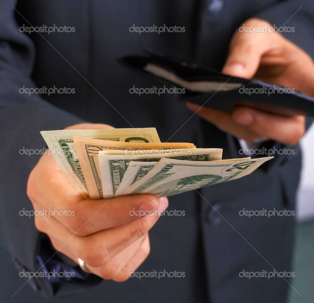 Taking Money From Wallet And Paying Dollars — Stock Photo #6494553