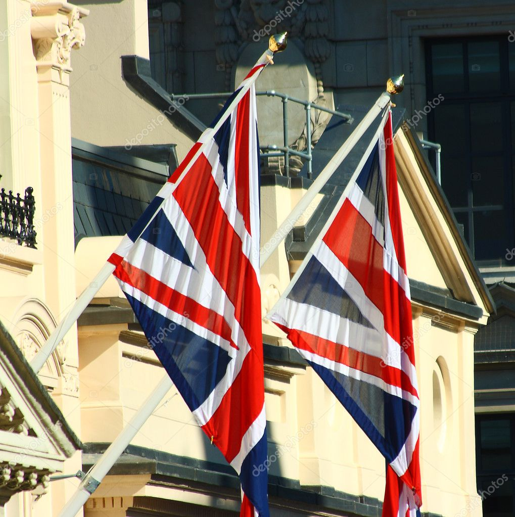 British Union Jacks Outside A Building In London — Stock Photo #6494669