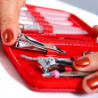 Getting Nail Clippers From A Manicure Set — Stock Photo