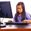 Girl Doing Her Homework On Her Father's Computer — Stock Photo