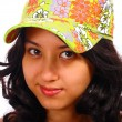Smiling And Attractive Teenage Girl Wearing A Cap — Stock Photo