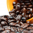 Coffee Beans In The Mug Representing Fresh Brewed Coffee — Stock Photo