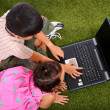 Two Kids Outside Browsing The Internet — Stock Photo