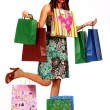 Happy Lady Shopper With Lots Of Purchases — Stock Photo