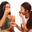 Two Teenager Girls Laughing And Giggling — Stock Photo