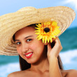 Pretty Girl In A Straw Hat — Foto de Stock