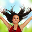 Girl With Hands And Hair In The Air — Stock Photo #6670749