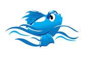 Blue fish — Stock Vector