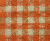 Orange checkered canvas texture - fabric background — Stock Photo