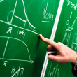 Hand of a student pointing at green chalk board — Stock Photo