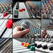 Audio mixer tileset with microphone and sliders - Stock Photo