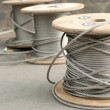 Spools of unused steel wire — Stock Photo